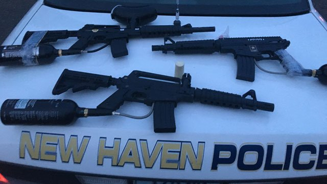 "The New Haven Police Department is warning that teens are using paint-ball guns, facsimile firearms, and BB-guns in a ""turf or gang conflicts."" (New Haven Police Department)"