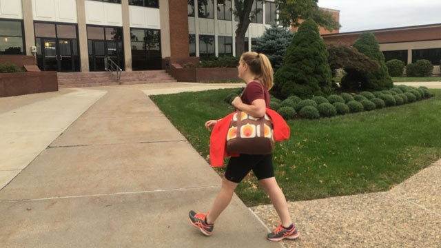 Eversource employee Alex Lamparski is running half marathon with her sister for her dad. (WFSB)