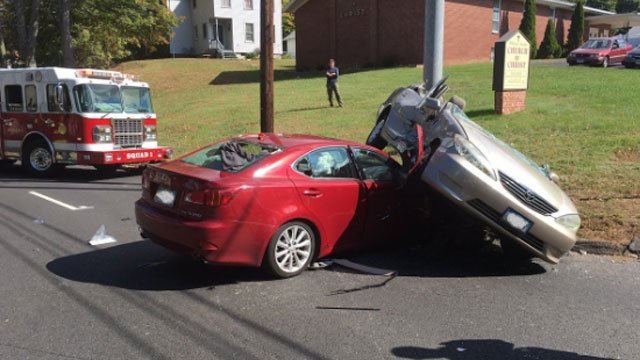 Two-car crash closes Whitney Avenue. (Hamden Fire Department)