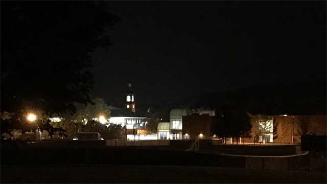 The Quinnipiac University campus was quiet Monday night after reports of clown sightings (WFSB)