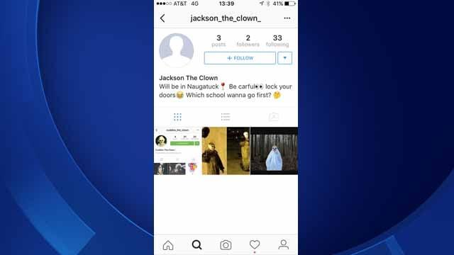 Naugatuck police are investigating threatening clown posts on social media (Naugatuck Police)