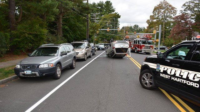 A woman was injured in a rollover crash on Boulevard. (West Hartford Police Department)