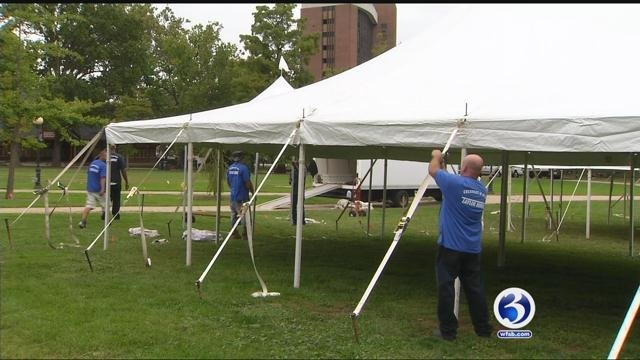 Crews were setting up tents for the 23rd annual Eversource Hartford Marathon. (WFSB)