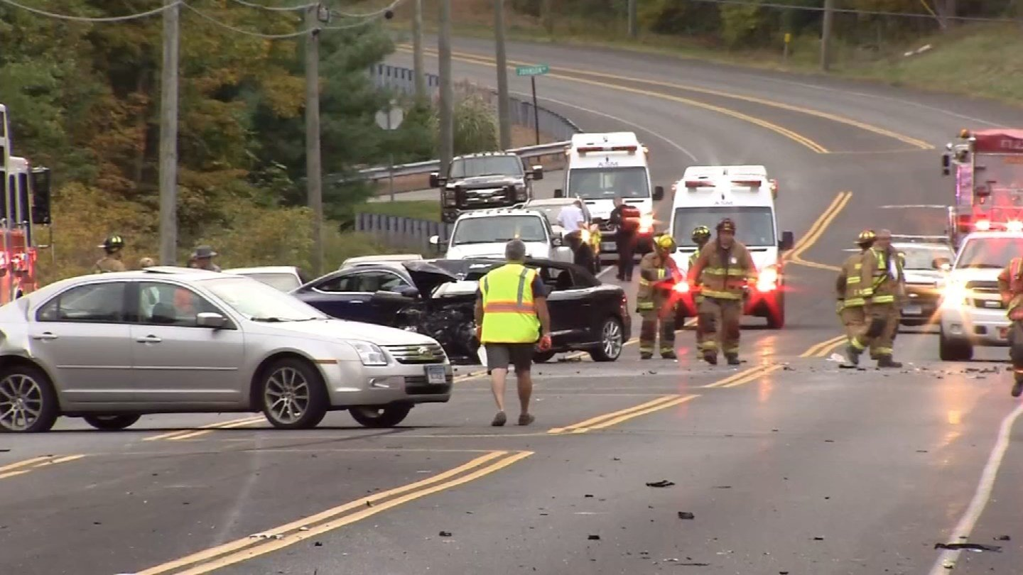 One person was dead after a multi-vehicle crash on Route 6 in Bolton on Tuesday evening. (WFSB)