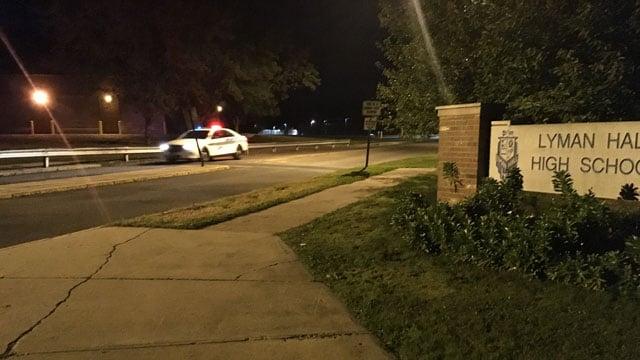 Wallingford police began their school patrols Wednesday morning following clown threats. (WFSB photo)