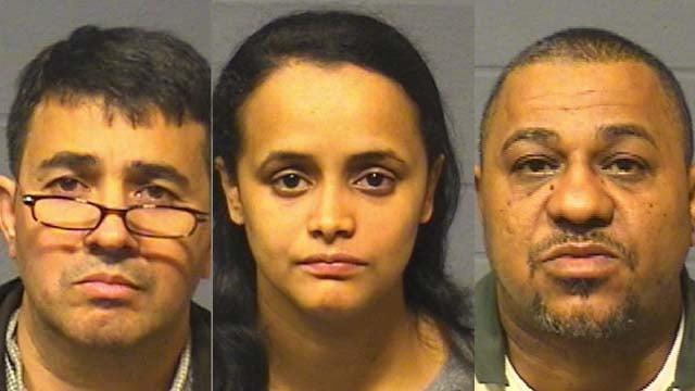 Henry Depena, Carmen Villa and Pablo Evangelista. (Hartford police photos)