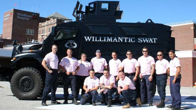 The Willimantic Police Department's SWAT team goes pink to raise awareness about breast cancer. (Willimantic police photo)