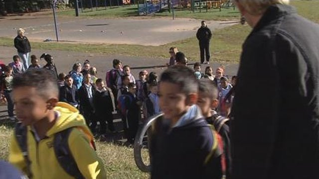 New Britain students participated in a walk-in on Thursday. (WFSB)
