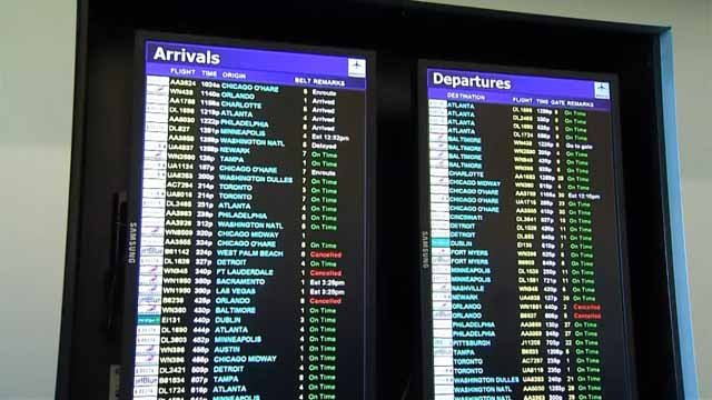 A few cancellations were reported for flights out of Bradley International Airport. (WFSB photo)
