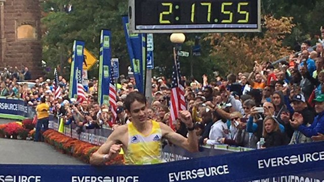 Brian Harvey, of Boston, wins 2016 Eversource Hartford Marathon. His unofficial time was 2:17:55. (WFSB)