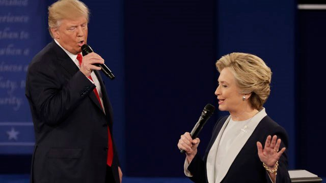 Donald Trump and Hillary Clinton faced off in their second debate on Sunday (AP Images)