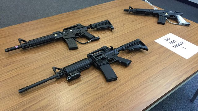 Paintball guns that look identical to assault rifles, according to police. (New Haven police photo)
