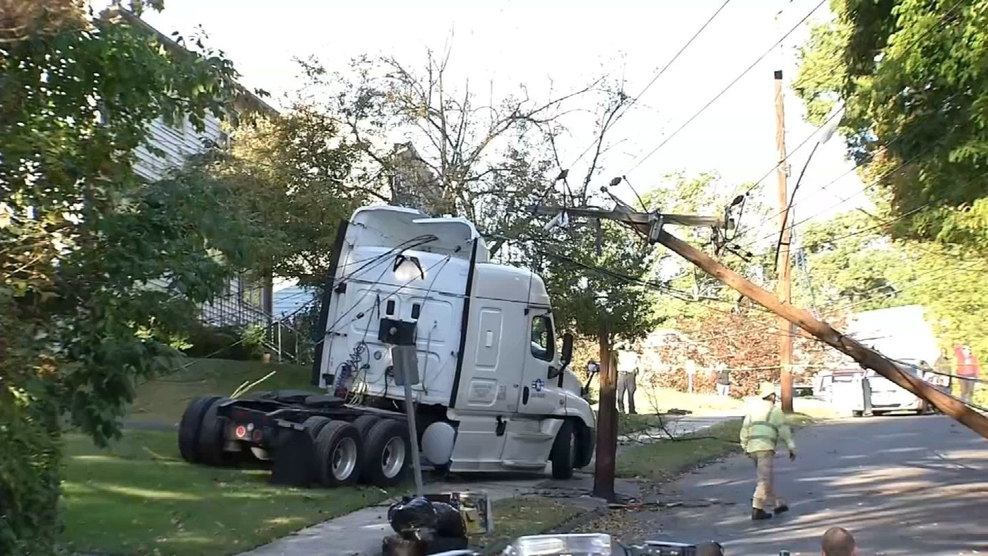 A tractor trailer cab hit a utility pole in Hamden Monday morning. (WFSB photo)