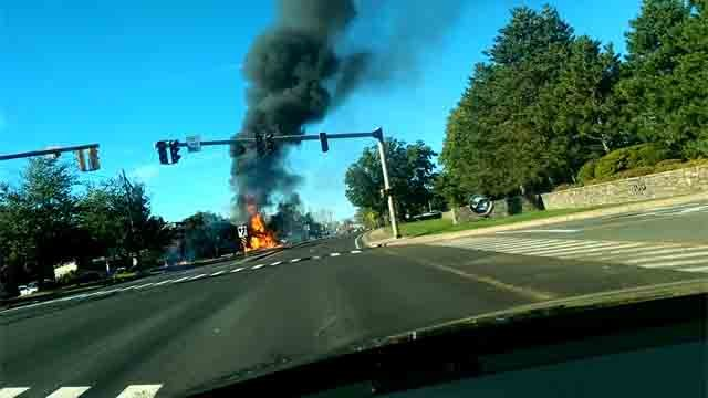 A plane crashed on Main Street in East Hartford on Tuesday (Reade Clemens)