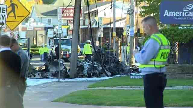 Dozens of emergency crews responded to a plane crash on Main Street in East Hartford (WFSB)