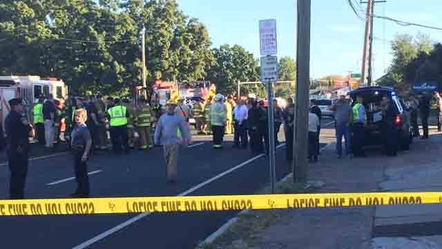 Dozens of emergency responders were called to the plane crash on Tuesday (WFSB)