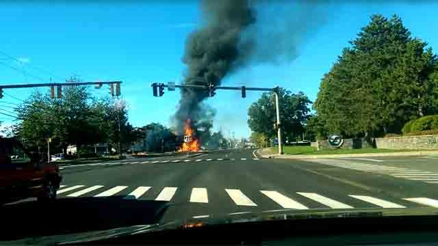 A plane crashed very close to Pratt & Whitney on Tuesday. (WFSB)