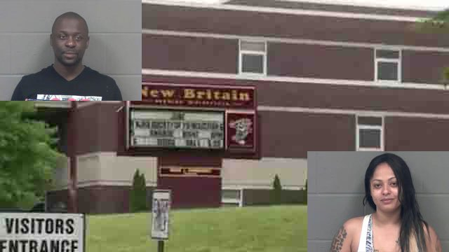2 people dressed as clowns arrested near New Britain High School, which lead to a lockdown on Thursday. (WFSB)