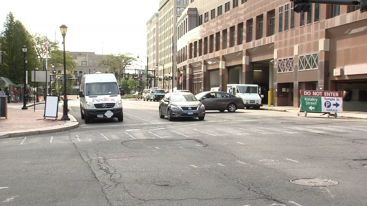 Market Street in Hartford began turning into a two-lane road on Friday. (WFSB photo)