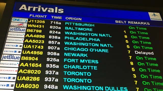 One flight was delayed coming from Chicago to Bradley International Airport. (WFSB photo)