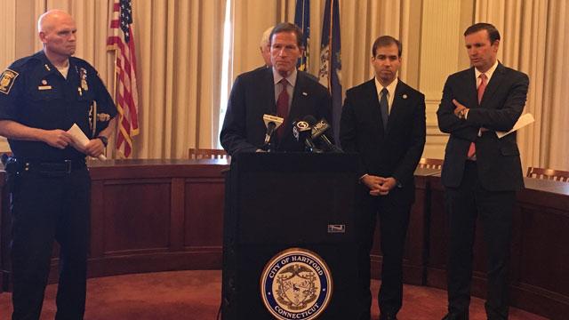 U.S. Senator Richard Blumenthal,U.S. Senator Chris Murphy, Hartford Mayor Luke Bronin and police were present at the announcement on Friday. (WFSB)