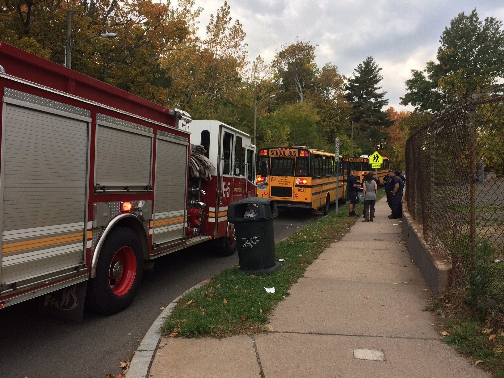 A school bus stopped on Hawthorn Street after pepper spray was used outside the bus (WFSB)