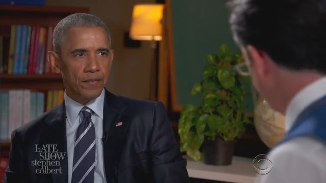 President Barack Obama is interviewed by Stephen Colbert on The Late Show Monday night. (CBS photo)
