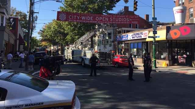Crews battled a fire on Chapel Street in New Haven (WFSB)