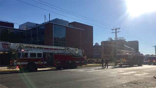 Crews responded to a fire at a life sciences at UConn (UConn's Stephanie Reitz)