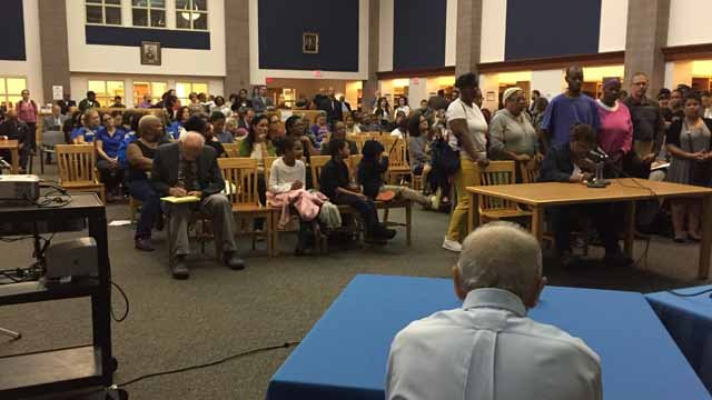 Dozens of parents and teachers attended Tuesday's Board of Education meeting (WFSB)
