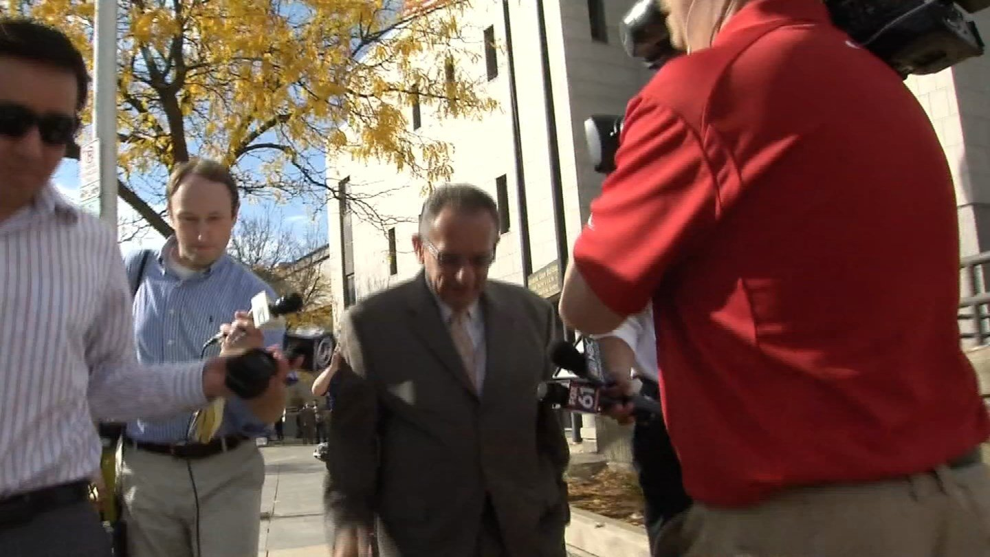 Former Hartford Mayor Eddie Perez leaves court on after his corruption convictions formally dropped on Wednesday. (WFSB)