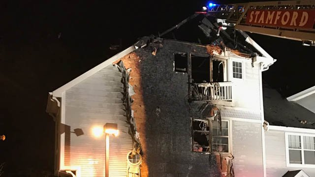 A fire burned two condo units in Stamford Wednesday night. (Stamford Fire Dept. photo)