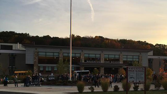 Students and staff were kept outside of Naugatuck High School due to a gas odor. (Naugatuck police photo)