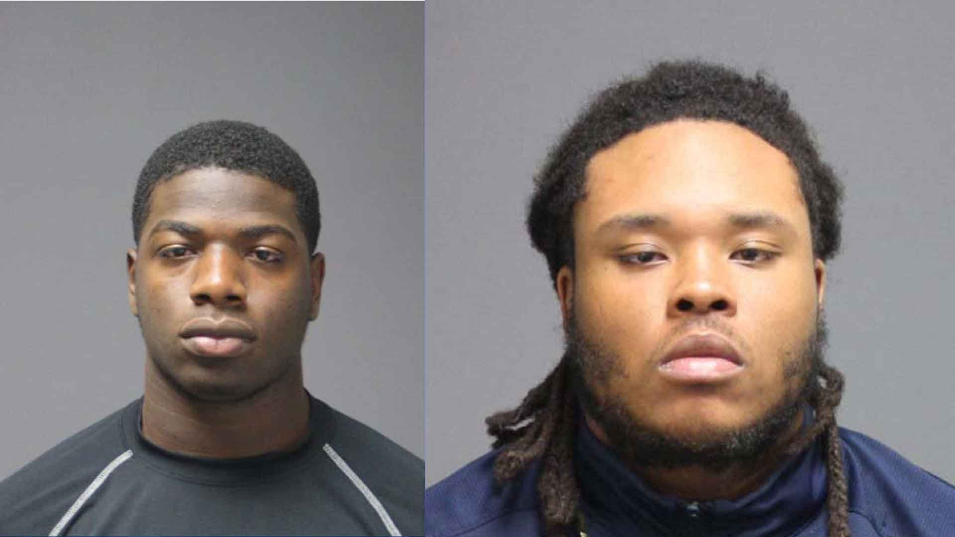 Nazir K Williams and Felton Alfonzo Blackwell, UConn football players, were arrested on a weapons charge after being pulled overin Storrs on Wednesday night.