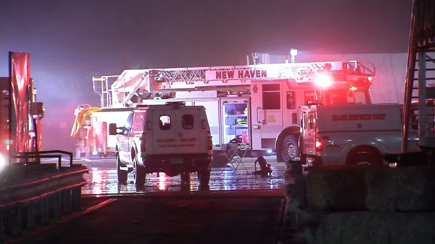 A fire broke out at Murphy Road Recycling on Wheeler Street in New Haven overnight. (WFSB photo)