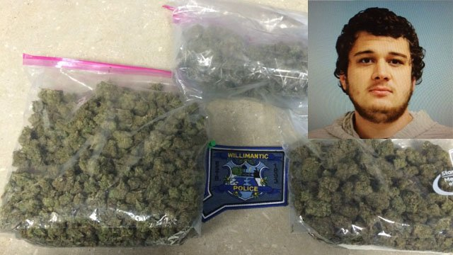 Corey Fowler was pulled over for speeding and arrested for having nearly a pound of pot. (Willimantic police photo)