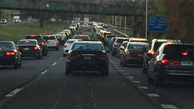 A crash on Interstate 91 in Meriden was causing traffic delays on Friday evening. (WFSB)