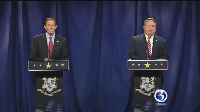 Sen. Richard Blumenthal debated challenger Dan Carter last month. (Face the State)