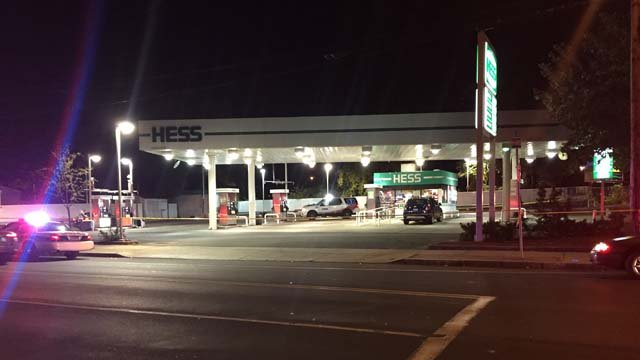 Police were called to a Hess gas station at State Street and Ferry Street Monday night. (WFSB)