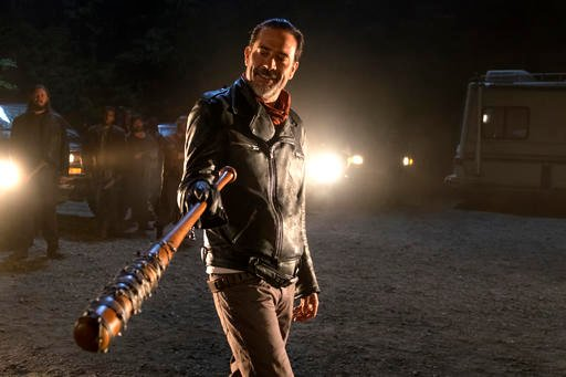 (Gene Page/AMC via AP). In this image released by AMC, Jeffrey Dean Morgan as Negan appears in a scene from 'The Walking Dead.'