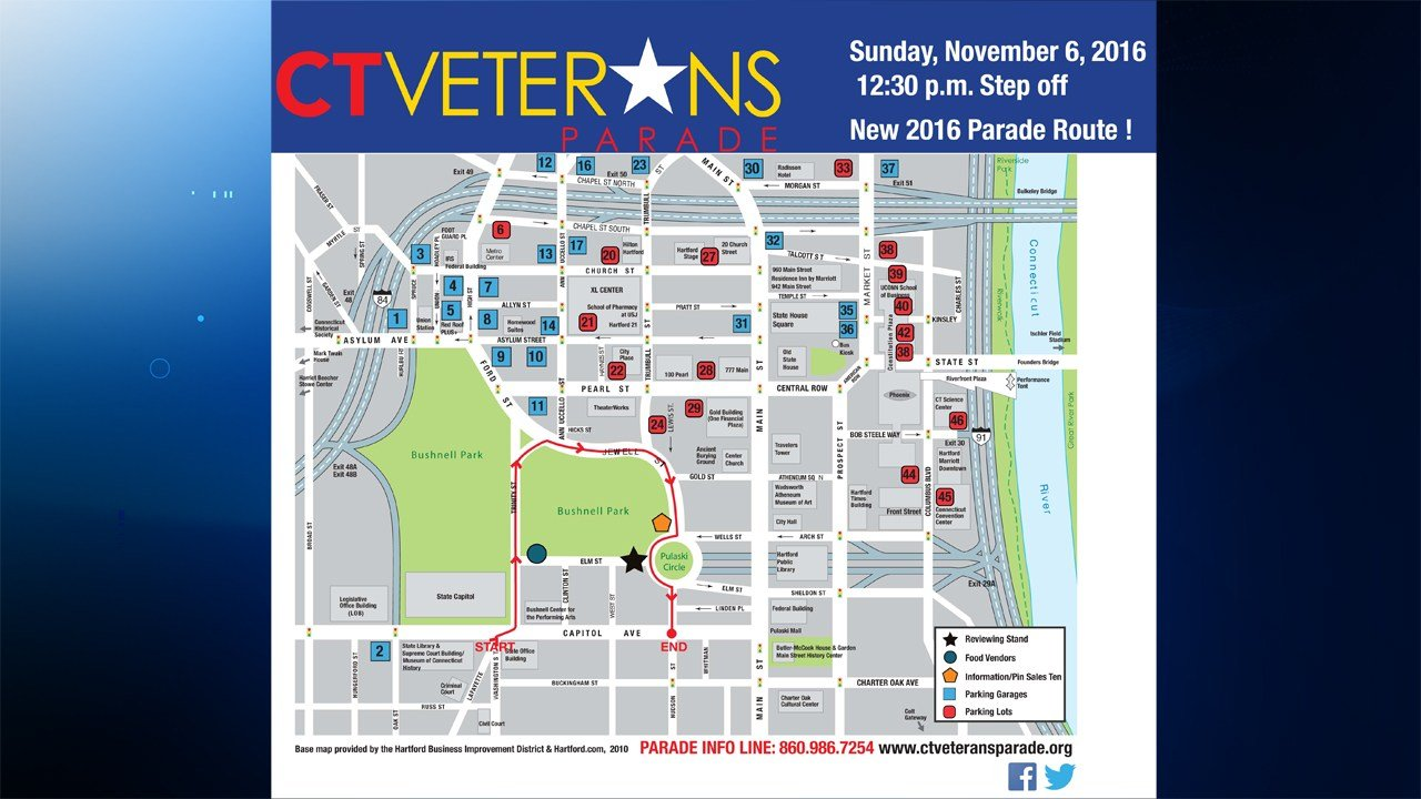The new Connecticut Veterans Parade route. (CT Veterans Parade photo)