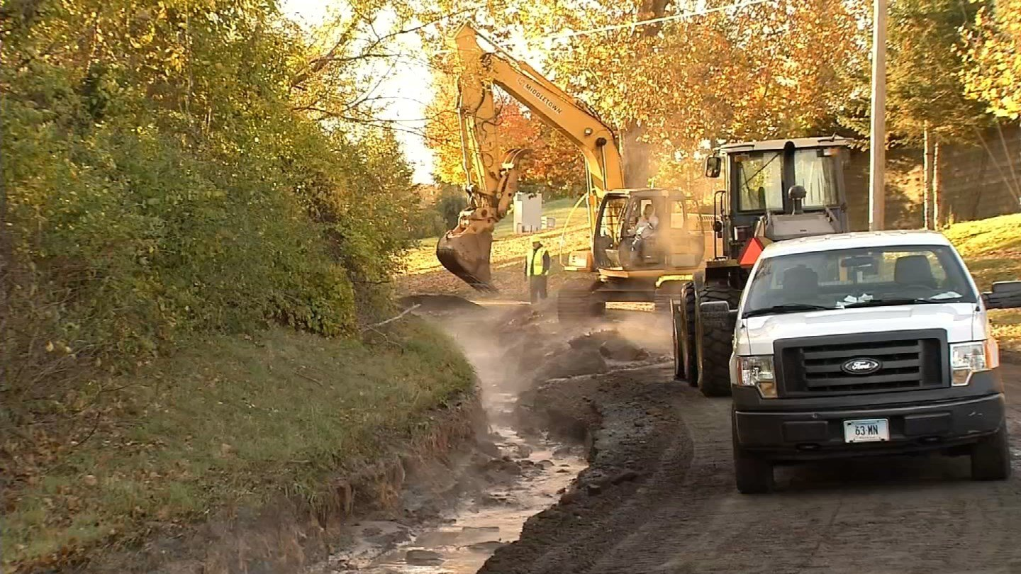 A water main broke off of Silver Mine Road in Middletown and affected much of the city. (WFSB photo)