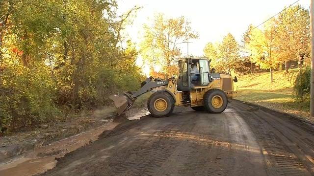 Crews work to repair a water main break in Middletown on Wednesday. (WFSB photo)
