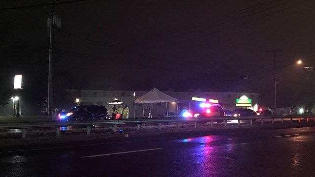 A person was hit by a car on the Berlin Turnpike on Thursday night (WFSB)