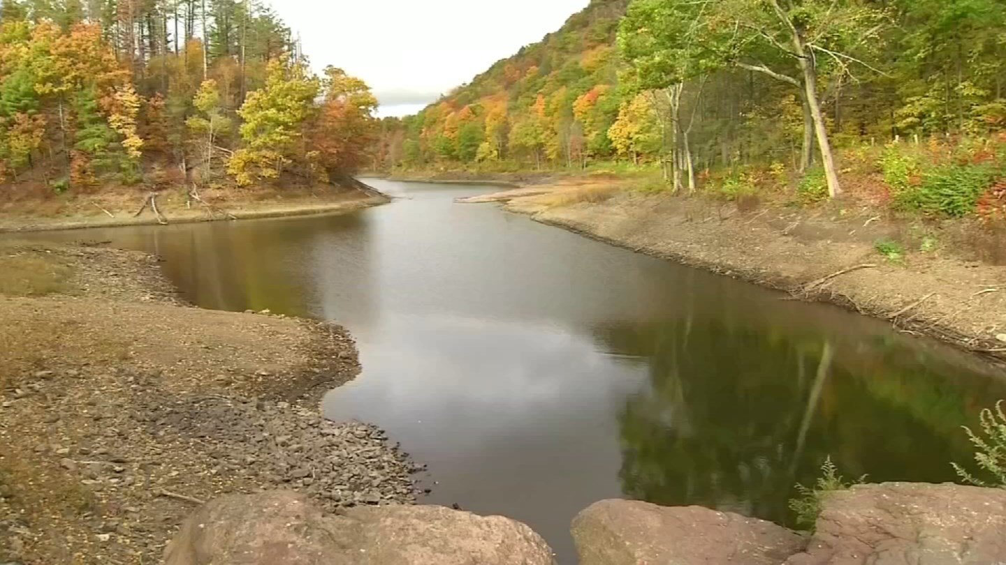 Water levels in lakes, rivers and streams have dropped during a severe drought. (WFSB photo)