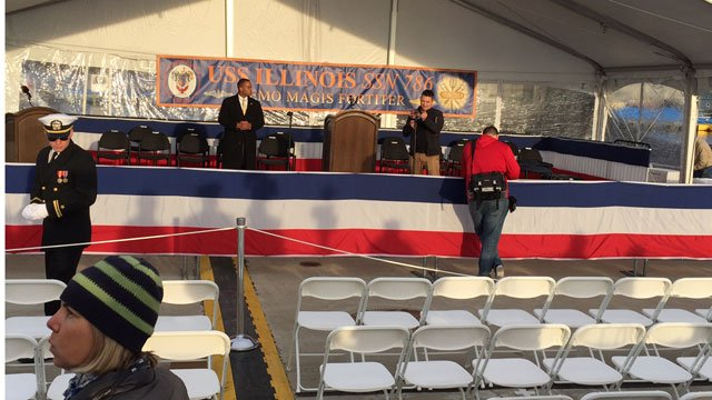 Crews were setting up for the USS Illinois commissioning event. (WFSB)