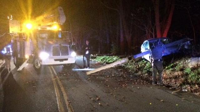 Single-vehicle crash involving utility pole.  (Lebanon Volunteer Fire Dept. Facebook)