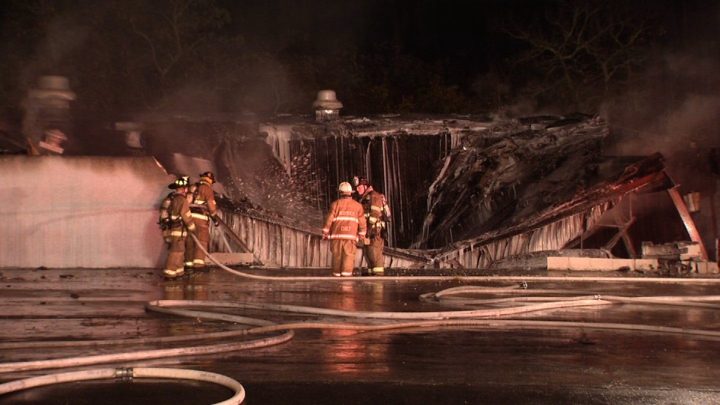 A fire destroyed the Kleemann Service Center in Norwich on Sunday. (WFSB photo)