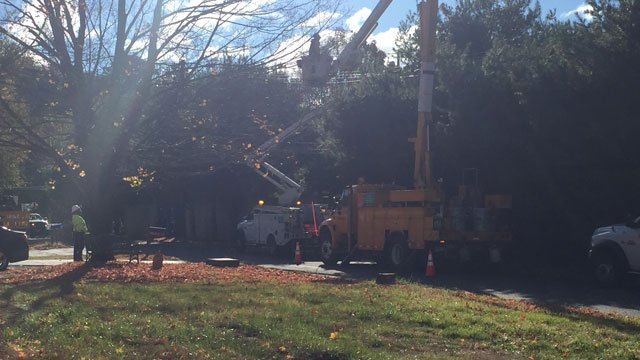 Crews worked on an equipment malfunction in Meriden on Monday. (WFSB)