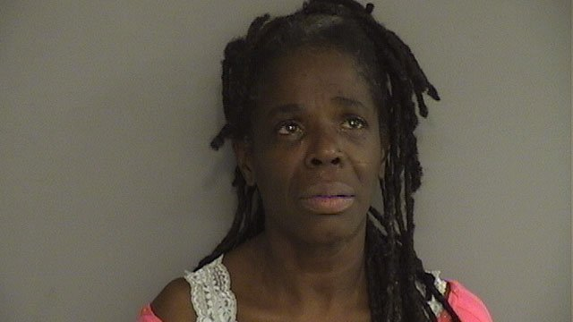 Shirley Jenkins was arrested after police said she threw a piece of asphalt curbing at her boyfriend. (Middletown Police Department)